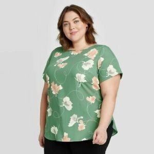 Ava & Viv women's floral short sleeve blouse